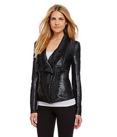 Chelsea and Theodore Faux Leather Pleated Jacket at Dillards
