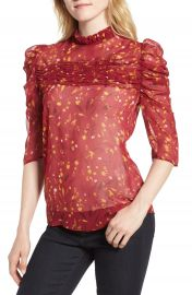 Chelsea28 Shirred Ruffle Neck Top at Nordstrom