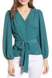 Chelsea28 Wrap Top in Teal Balsam at Nordstrom Rack