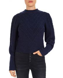 Chevron & Popcorn-Knit Sweater at Bloomingdales