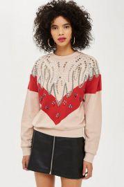 Chevron Crystal Sweatshirt at Topshop