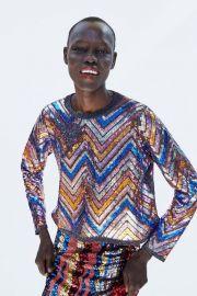 Chevron Sequined Sweater by Zara at Zara