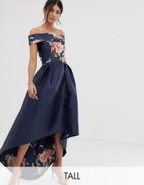 Chi Chi London Tall bardot neck prom dress with high low hem in navy floral   ASOS at Asos