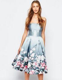 Chi Chi London Bandeau Midi Dress in Sateen Floral Print at asos com at Asos