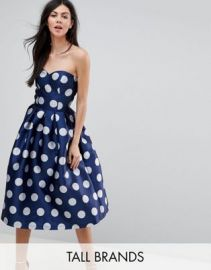 Chi Chi London Tall Structured Bandeau Midi Dress in Polkadot at asos com at Asos