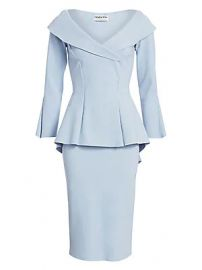 Chiara Boni La Petite Robe - Zoya Long-Sleeve Peplum Sheath Dress at Saks Fifth Avenue
