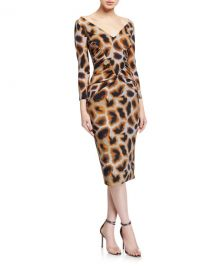 Chiara Boni La Petite Robe Animal Print V-Neck 3 4-Sleeve Side-Shirred Dress at Neiman Marcus