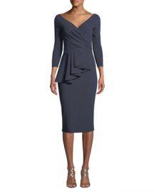 Chiara Boni La Petite Robe Ariane Pinstripe Peplum Wrap Dress at Neiman Marcus