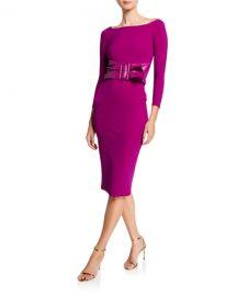 Chiara Boni La Petite Robe Bateau-Neck 3 4-Sleeve Belted Dress at Neiman Marcus