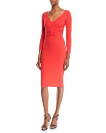 Chiara Boni La Petite Robe Claudetta V-Neck Dress w  Bow Front at Neiman Marcus