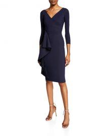 Chiara Boni La Petite Robe Fadile V-Neck 3 4-Sleeve Dress with Side Ruffle Detail at Neiman Marcus
