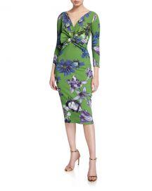Chiara Boni La Petite Robe Floral V-Neck Knot-Front 3 4-Sleeve Dress at Neiman Marcus