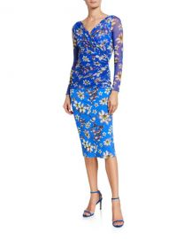 Chiara Boni La Petite Robe Floral V-Neck Long Sleeve Illusion Overlay Dress at Neiman Marcus