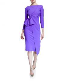 Chiara Boni La Petite Robe Gurli Bateau-Neck 3 4-Sleeve Asymmetric Flap Dress at Neiman Marcus
