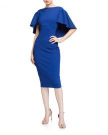 Chiara Boni La Petite Robe High-Neck Short-Sleeve Cape Dress at Neiman Marcus