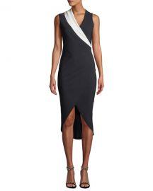 Chiara Boni La Petite Robe Jette Longette Asymmetric High-Low Dress w  Contrast Lapel at Neiman Marcus