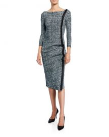 Chiara Boni La Petite Robe Long-Sleeve Tweed Dress w  Piping at Neiman Marcus