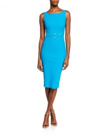 Chiara Boni La Petite Robe Maria Iris Boat-Neck Sleeveless Grommet-Waist Dress at Neiman Marcus