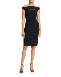 Chiara Boni La Petite Robe Melania Off-the-Shoulder Cap-Sleeve Dress w  Front Cutout at Neiman Marcus