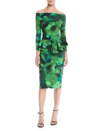 Chiara Boni La Petite Robe Nabella Off-the-Shoulder Floral Peplum Dress at Neiman Marcus