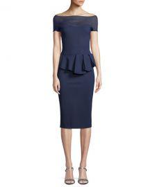 Chiara Boni La Petite Robe Nabelle Illusion Dress w  Peplum Waist at Neiman Marcus