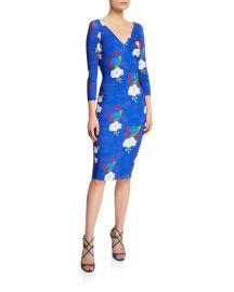 Chiara Boni La Petite Robe Naktis Floral-Print V-Neck 3 4-Sleeve Bodycon Dress at Neiman Marcus