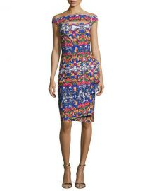Chiara Boni La Petite Robe Off-the-Shoulder Printed Cutout Cocktail at Neiman Marcus