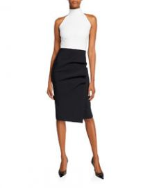 Chiara Boni La Petite Robe Sabinka Colorblock Halter Dress w  Ruched Skirt at Bergdorf Goodman