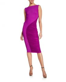 Chiara Boni La Petite Robe Sleeveless Ruched Illusion Inset Dress at Neiman Marcus