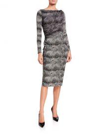 Chiara Boni La Petite Robe Snake-Print Long-Sleeve Dress with Sheer Bodice Overlay at Neiman Marcus
