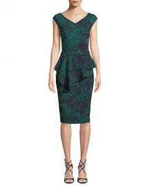 Chiara Boni La Petite Robe Tini Floral-Print Cap-Sleeve Sheath Dress at Neiman Marcus
