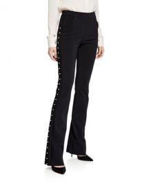 Chiara Boni La Petite Robe Tulay Straight-Leg Pants with Pearly Trim at Neiman Marcus