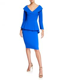 Chiara Boni La Petite Robe V-Neck High-Low Peplum Cocktail Dress at Neiman Marcus