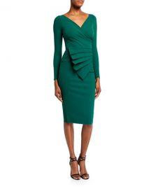 Chiara Boni La Petite Robe V-Neck Long-Sleeve Asymmetric Shirred Detail Dress at Neiman Marcus