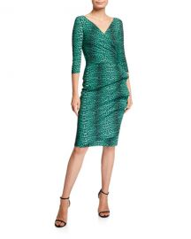 Chiara Boni La Petite Robe3 4-Sleeve Animal-Print Ruched Cocktail Dress at Neiman Marcus
