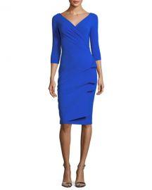 Chiara Boni La Petite RobeFlorien 3 4-Sleeve Jersey Faux-Wrap Dress at Neiman Marcus