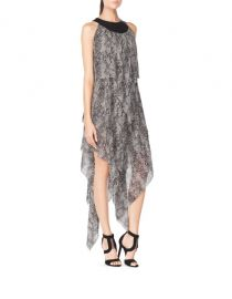 Chiffon Draped Dress with Leather Detail at Tamara Mellon