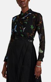 Chika Bird- & Floral-Motif Silk Chiffon Blouse at Barneys
