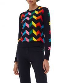 Chinti And Parker Chevron Wool-Blend Sweater w  Star Intarsia at Neiman Marcus