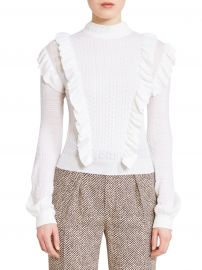 Chlo   - Lace Ruffle Mockneck Sweater at Saks Fifth Avenue