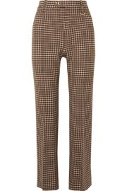 Chlo   - Cropped checked woven straight-leg pants at Net A Porter