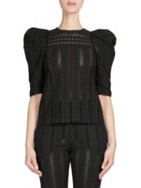 Chlo   - Embroidered Puff-Sleeve Top at Saks Fifth Avenue