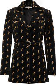 Chlo   - Embroidered cotton-blend velvet blazer at Net A Porter