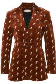 Chlo     Embroidered cotton-blend velvet blazer at Net A Porter