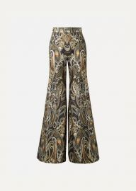 Chlo   - Metallic silk-blend jacquard flared pants at Net A Porter