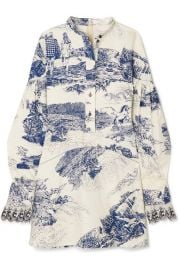 Chlo   - Printed cotton-twill mini dress at Net A Porter