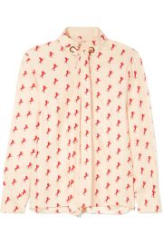 Chlo   - Printed pussy-bow silk-crepe blouse at Net A Porter