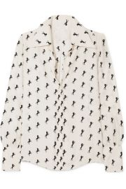 Chlo   - Printed silk-crepe blouse at Net A Porter