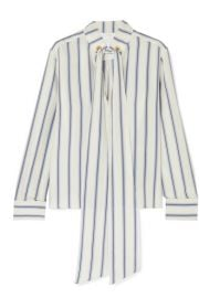 Chlo   - Pussy-bow striped silk-georgette blouse at Net A Porter