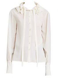Chlo   - Ruffle Collar Tieneck Silk Blouse at Saks Fifth Avenue
